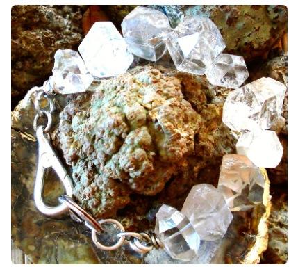 Jumbo size double terminated quartz bracelet with sterling clasp.