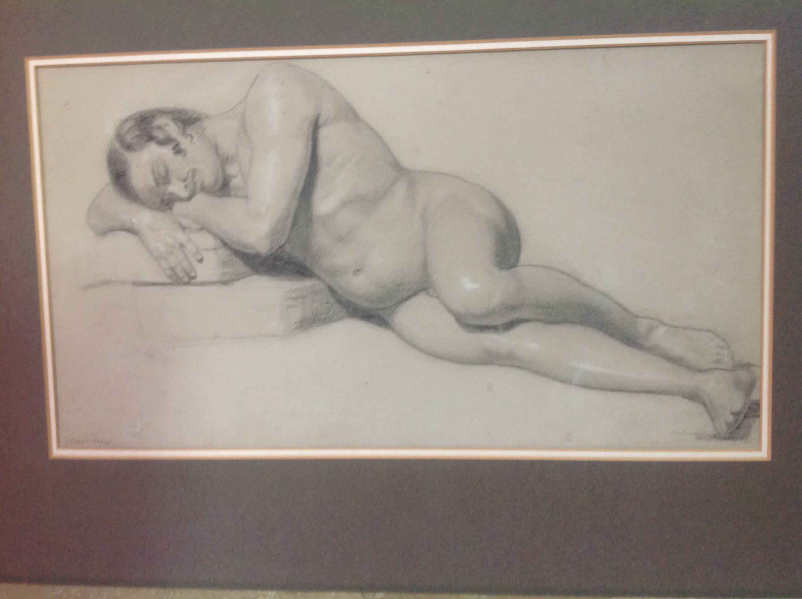 """19th century charcoal and chalk academy sketch on paper, recumbent male nude, 20"""" x 12"""" possibly by Etienne Hippolyte Maindron, a sculptor of the human form, studied at the Ecole des Beaux Arts in the 1820s- Legion of Honour awarded in 1874. Most of his works can be seen in the Museum of Fine Arts in Angers, France"""